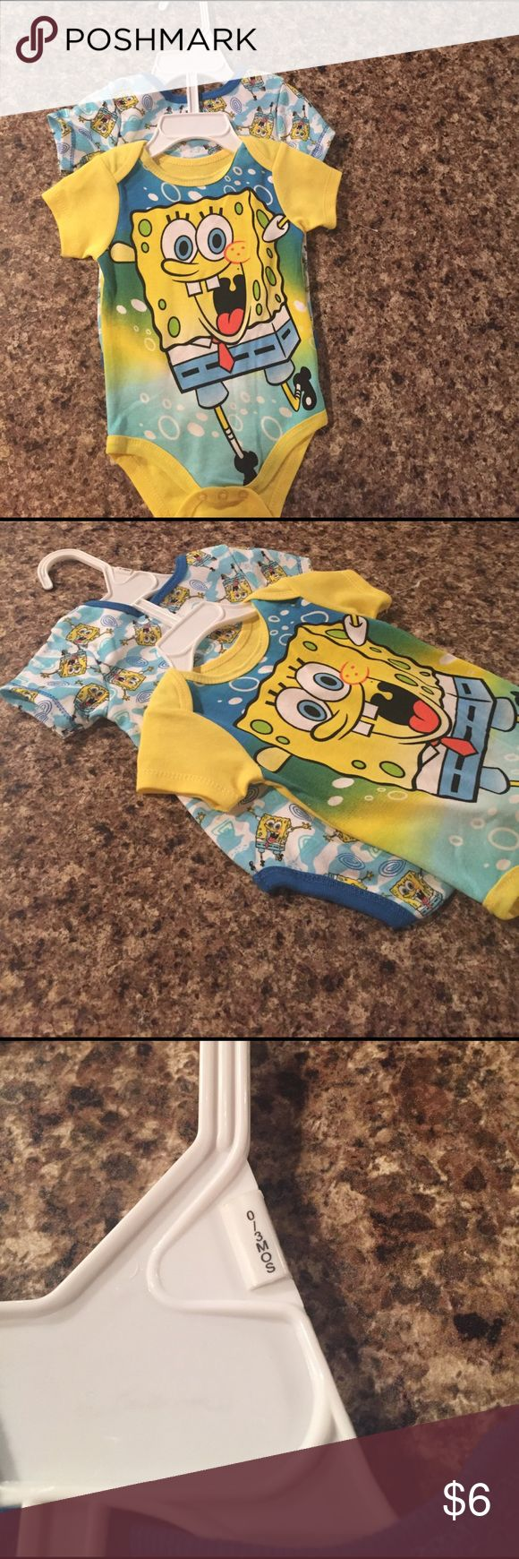 Brand new 0-3 month Spongebob onesies Brand new on hanger but tag came off. 0/3months Nickelodeon One Pieces Bodysuits