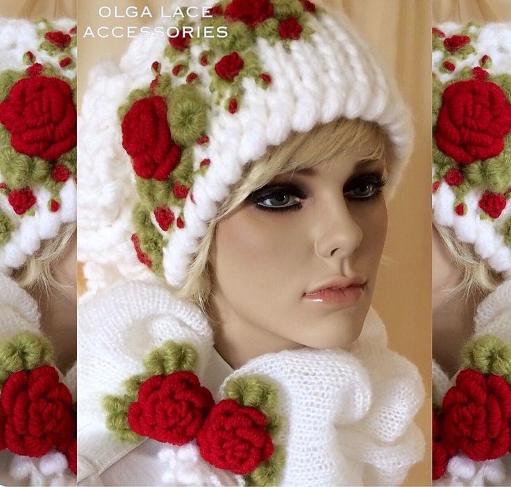 """Купить Вязаная шапка """"Розочки"""" от Olga Lace - вышитая шапка, шапка с вышивкой, вязаная шапка"""