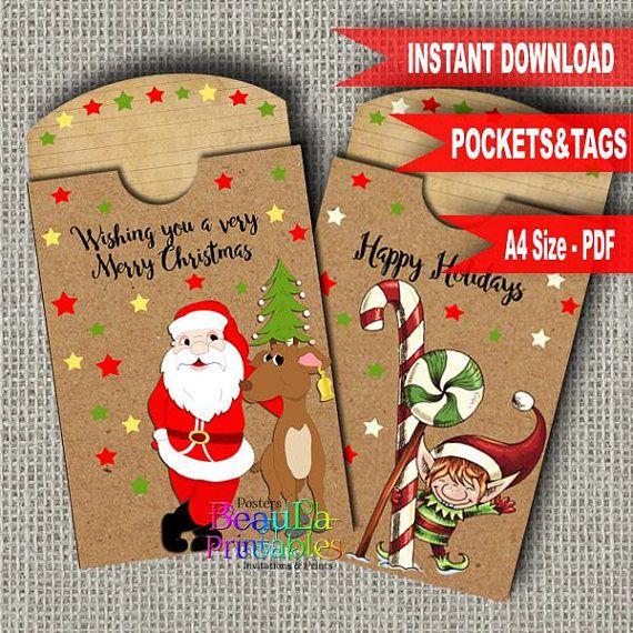 Christmas Tag & Pocket Tag Pocket Template Printable Tag and