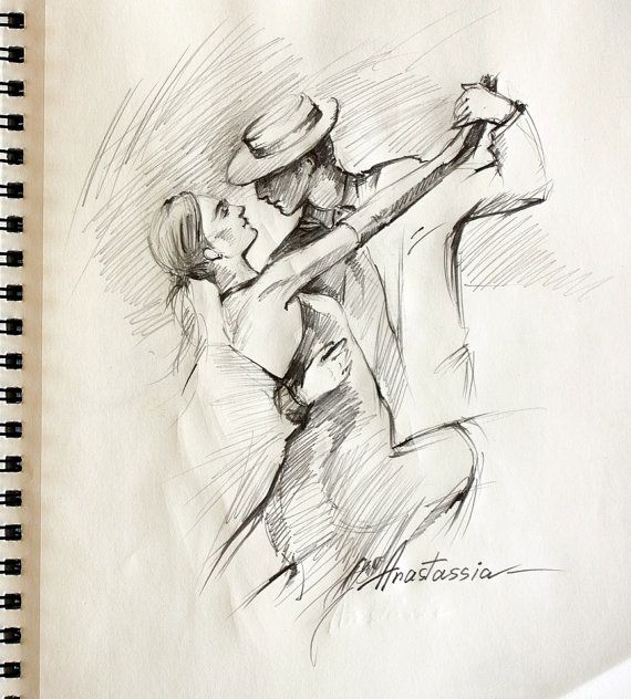 Passionate Tango Dancers Drawing Sketch Pencil on Paper 10x9 via Etsy