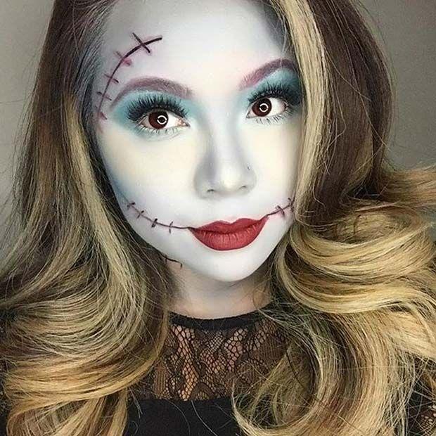 Nightmare Before Christmas (Sally) Halloween Makeup Idea