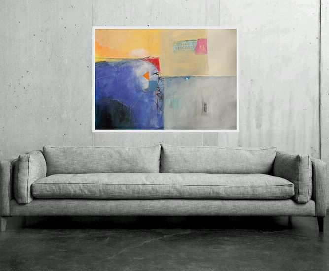 Large Abstract Painting, Blue White Yellow Orange Grey,Original Modern Artwork Wall Decorations Office & Home Modernism 100 x 70 cm 40x28 in by AjdinovicStudio on Etsy