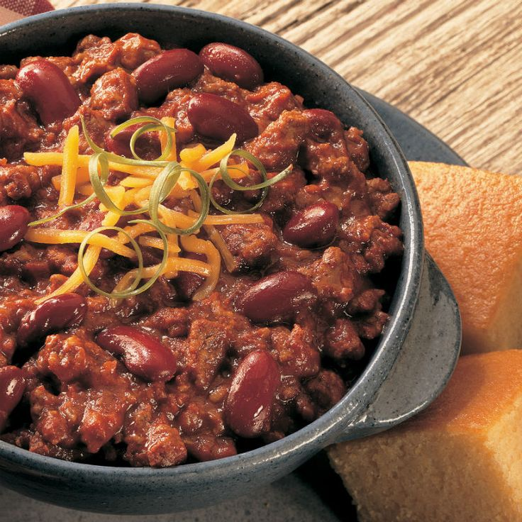 A bowl of warm chili is satisfying comfort food on a cold day. For informal get-togethers, serve in a slow cooker to keep it warm.
