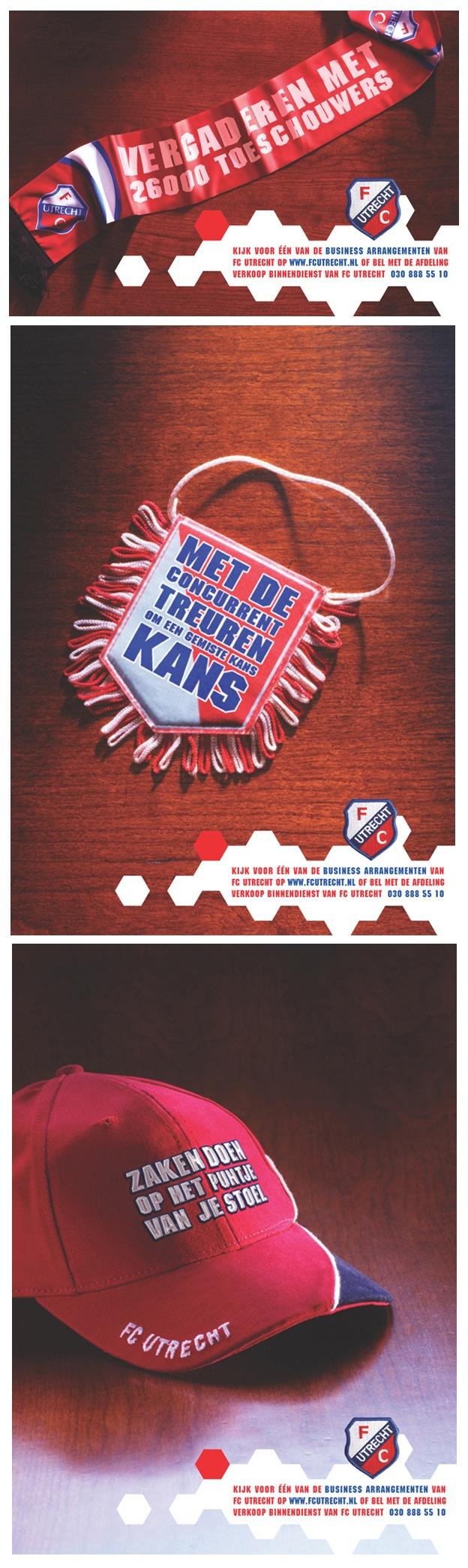SALESCAMPAIGN FC Utrecht:  Als eeuwige runner-up in een zware competitie heb je -zoals we weten- forse funding nodig om die plek te ontstijgen. Een nieuw stadion helpt daarin. De verkoop van de resterende (en pepedure) business-seats en skyboxen zit alleen even niet mee. Daarom ook een echte b-to-b fancampagne...