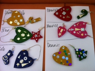 Christmas decorations made by blind veterans at the Blind Veterans UK Sheffield centre.