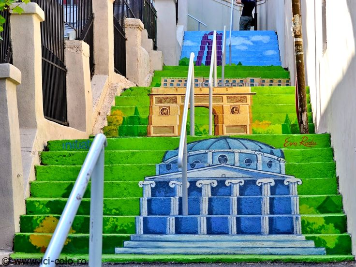 The Xenofon stairway street in Bucharest, Romania – the only one of its kind in Bucharest. Built 220 years ago, this strange narrow street is actually a stairway with 100 steps and also an example of modern street art. #bucharest #romania #travel