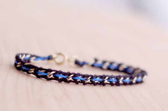 Thin blue line woven gold / silver chain bracelet, women law enforcement / police wife, black blue friendship bracelet, feminine delicate on Etsy, $19.00