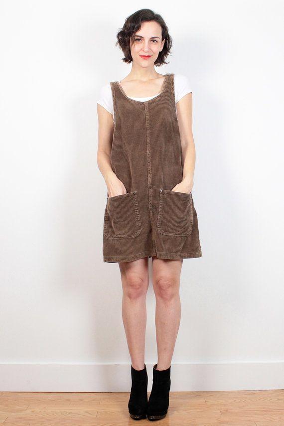 Vintage 1990s Brown Ribbed Corduroy Grunge Dress