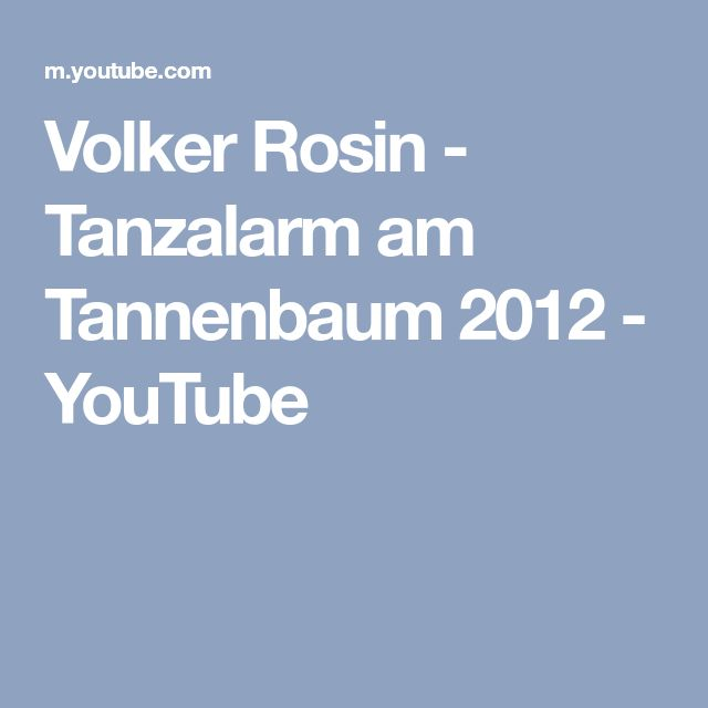 Volker Rosin - Tanzalarm am Tannenbaum 2012 - YouTube