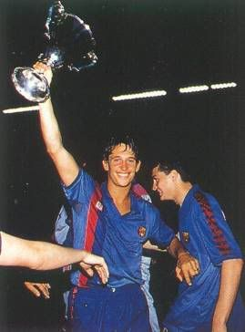Gary Lineker, born 30 November 1960, English striker, FC Barcelona (1986-1989).  Gary Lineker is holding 1989 Cup Winners' Cup won against Sampdoria of Genoa.
