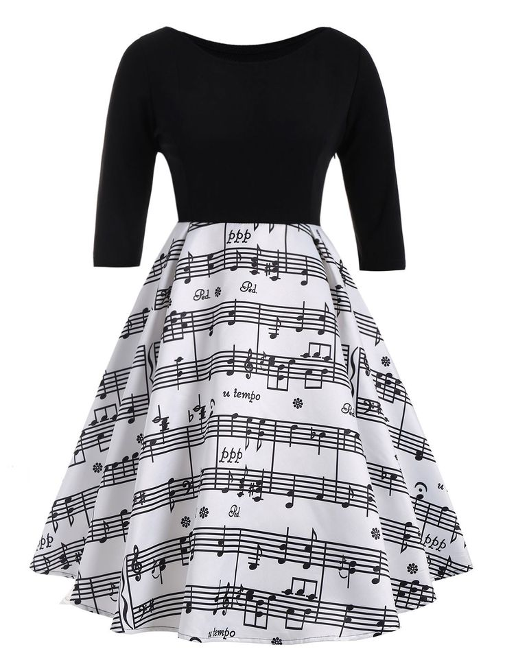 Musical Notes Printed Plus Size Vintage Dress