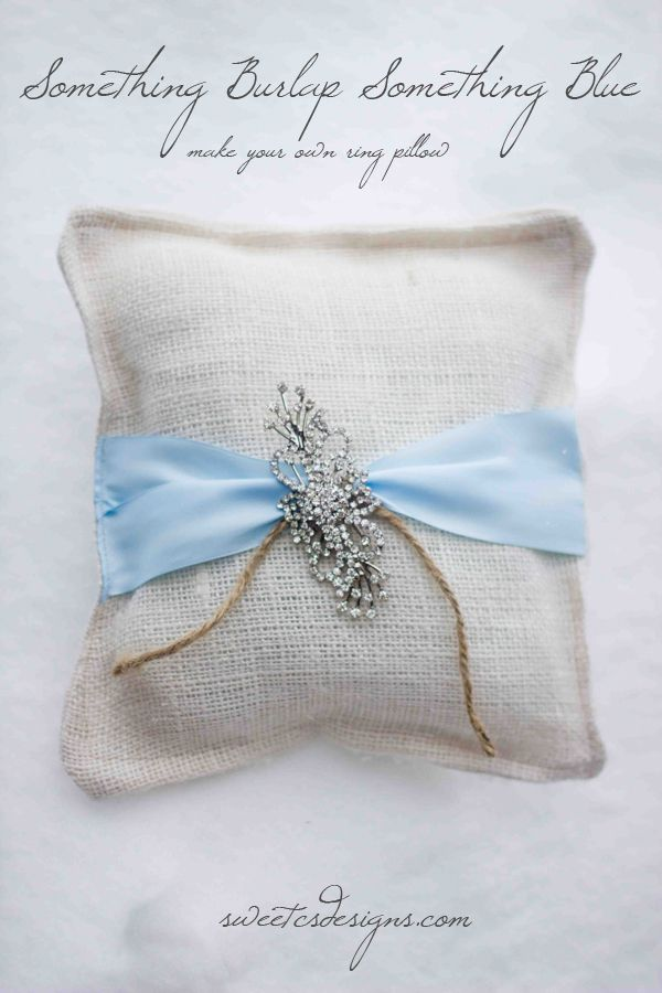 beautiful rustic wedding ring pillow that only takes a few minutes and a few dollars to make! #somethingblue #burlap #wedding #ring pillow