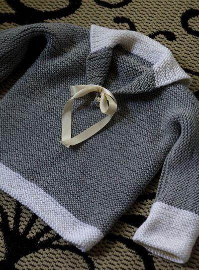 Free Pattern.  One piece garter stitch kids jumper.