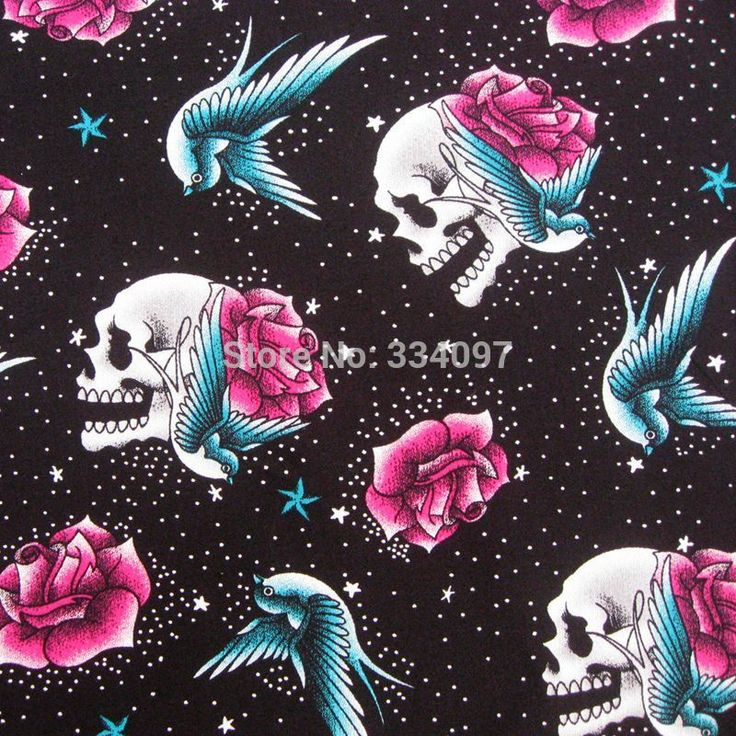 1 yard Cotton Stretch satin Fabric Skull, swallow and Flower on Black (width=145cm)-in Fabric from Home & Garden on Aliexpress.com | Alibaba Group