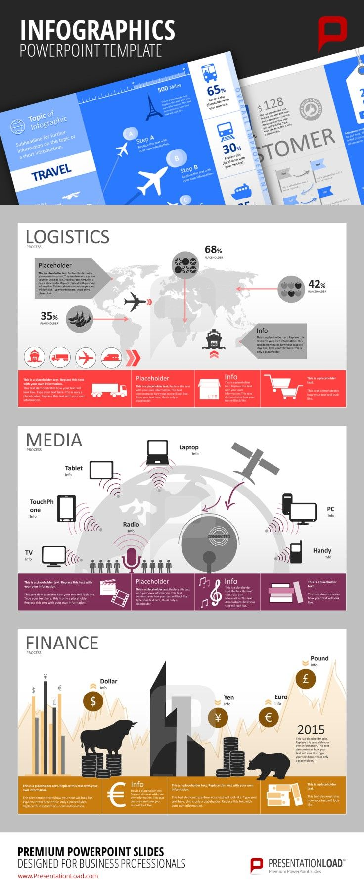 Infographic PowerPoint Templates Create a lucid and structured infographic about your company's worldwide logistics network or visualize some data about media use like TV, Tablets or Laptops. You can also easily create a graphical overview over finance related topics such as currency exchange rates or stock market prices. #presentationload  www.presentationl...