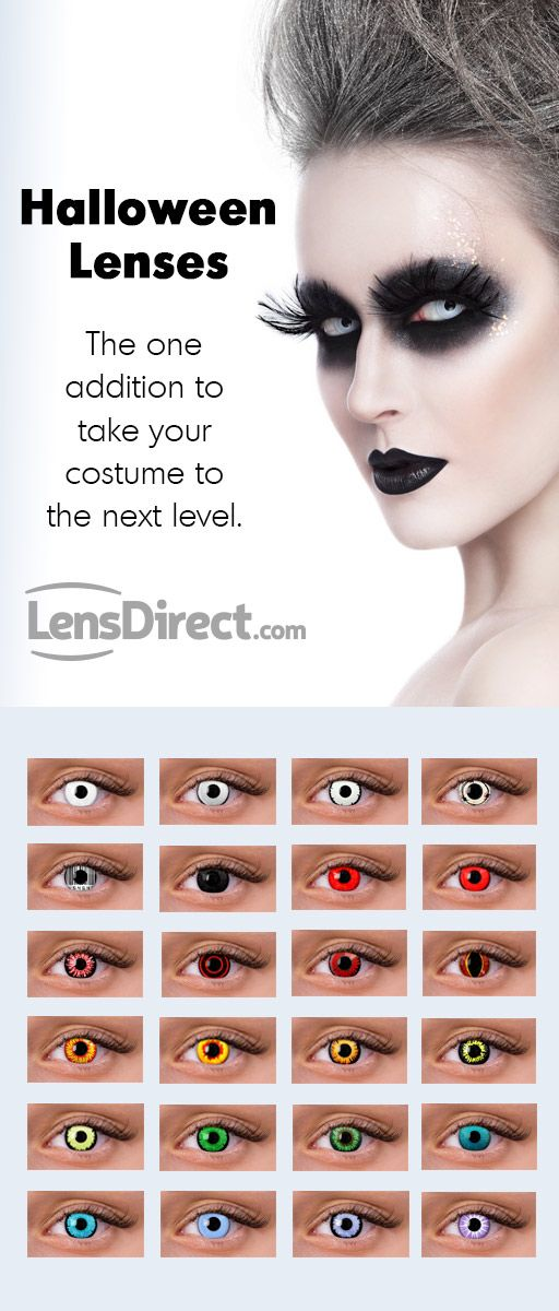 Our Halloween contact lenses will add a new dimension to your Halloween costume this year! These lenses will make your costume extra scary, shocking, or stunningly beautiful depending on the costume you choose! If you are looking to stand out this October, then pick up a pair of Halloween contact lenses cheap from LensDirect!