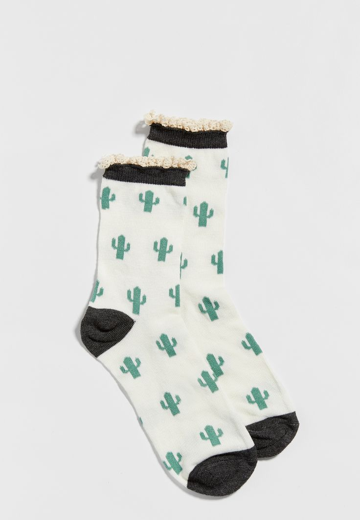 cactus print crew socks with ruffle top (original price, $6.50) available at #Maurices