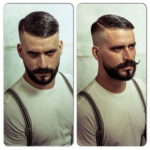 """vintagebarbershop: """" @schorembarbier High 'n' Tight Contour with a hard part and beard trim.  My goal one day"""