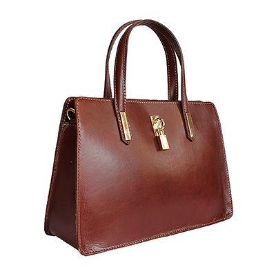 Italian Padlock Brown Leather Handbag - Down to £49.99 from £64.99