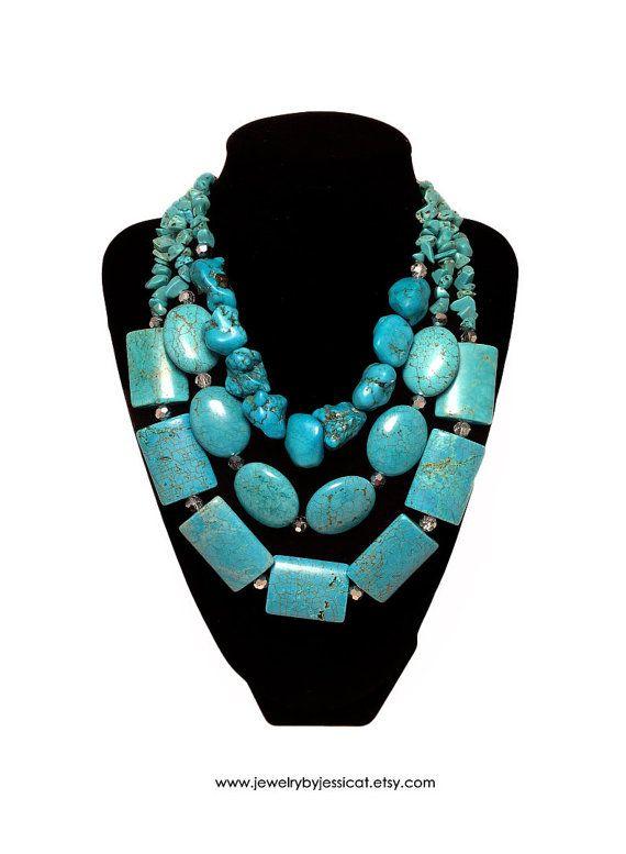TURQUOISE GEMSTONE Statement Necklace by JewelryByJessicaT on Etsy, $105.00