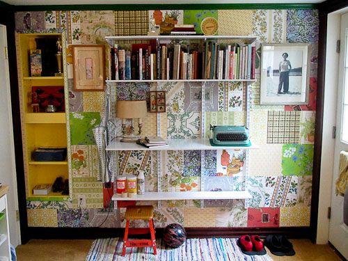 craft room shelving ideas | ... more craft room storage, using historic Knape & Vogt modular shelving LOVE the idea of using scrapbook paper for background.