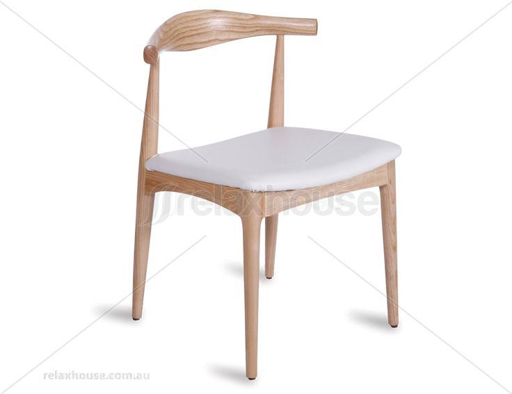 Replica Hans Wegner Elbow Chair - Natural American Ash w/ White Pad