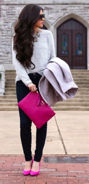 Winter outfit. Grey sweater. Fiusha. Casual.
