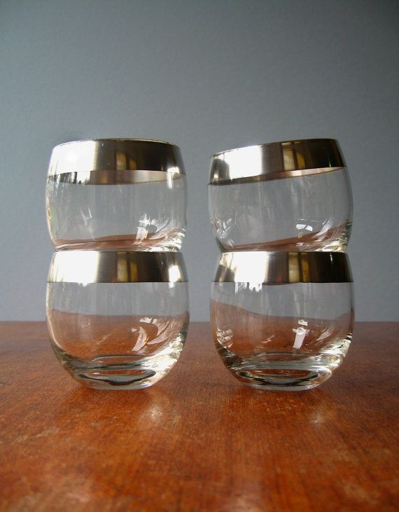 Vintage Dorothy Thorpe Silver Band Glassware. I've wanted these since I first saw Mad Men