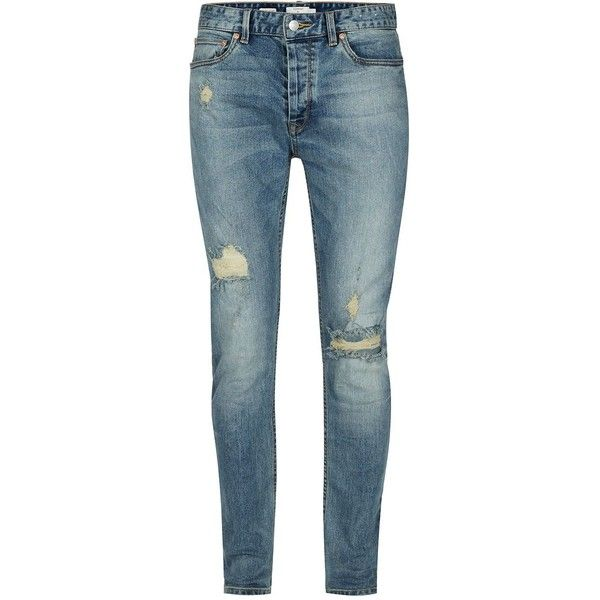 Topman Vintage Blue Ripped Stretch Skinny Jeans ($52) ❤ liked on Polyvore featuring men's fashion, men's clothing, men's jeans, men jeans, mens skinny tapered jeans, mens blue skinny jeans, mens torn jeans, mens skinny fit jeans and mens vintage jeans