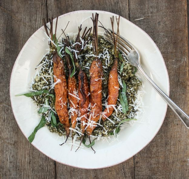 carrot top pesto quinoa salad with roasted carrots | Dishing Up the ...