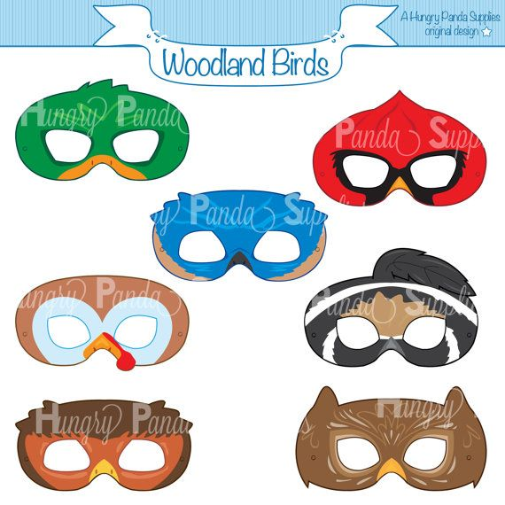 Woodland Forest Birds Printable Masks, woodland turkey mask, owl mask, cardinal mask, bluebird mask, robin mask, duck mask, quail mask,print