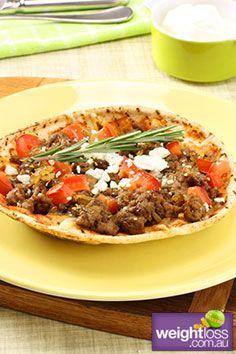 Healthy Lamb Recipes: Greek Lamb Pizza. #HealthyRecipes #DietRecipes #WeightlossRecipes weightloss.com.au