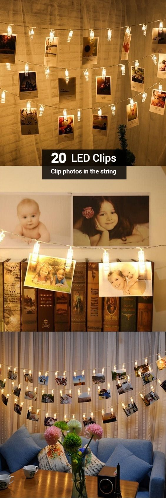 LED 20pc-clip Light String Warm White Lights Decorative Lights #valentinesday
