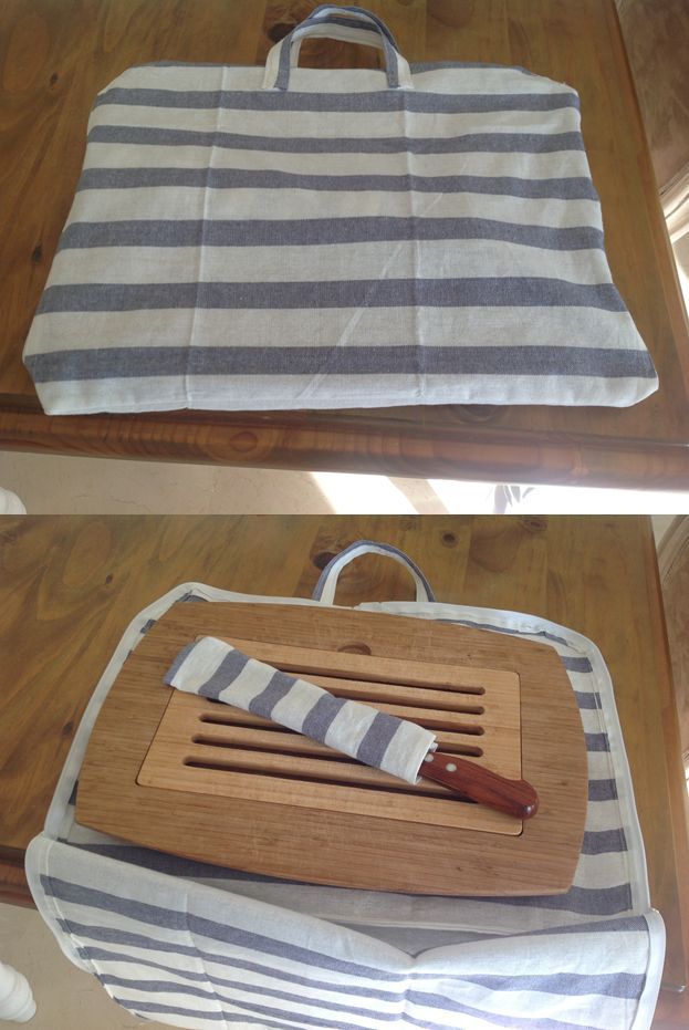 Sac pour ranger ma planche à pain faits à partir de 2 torchons Ikéa et avec 2 fermetures éclair de 55 cm. J'ai fait en plus une housse pour ranger le couteau avec les chutes de torchon.