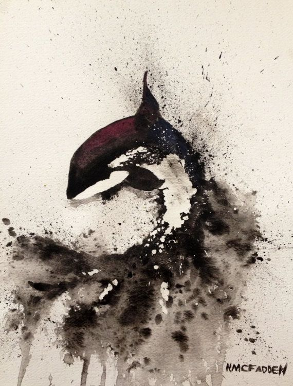 Watercolor Orca Killer Whale Original Artwork Painting Orca Splashing in the Ocean Killer Whale Jumping on Etsy, $85.00
