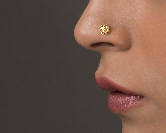 Rose Gold Nose Screw Tribal Nose Stud Clover Jewelry Tiny Earring Nose Piercing Tragu Stud Hex Stud Indian Nose Stud Gold Nose Stud