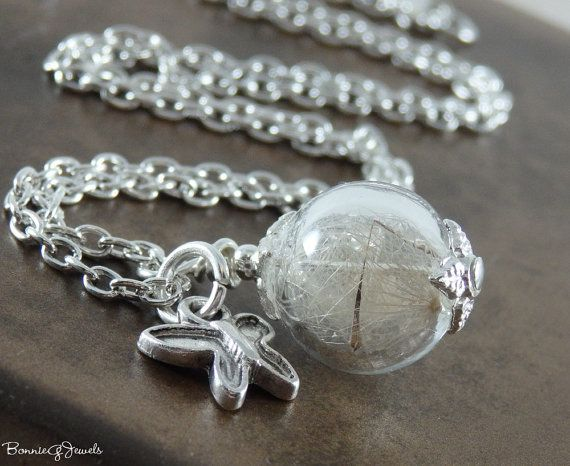 Dandelion Glass Necklace Make a Wish Necklace by BonnieGJewels, $27.00