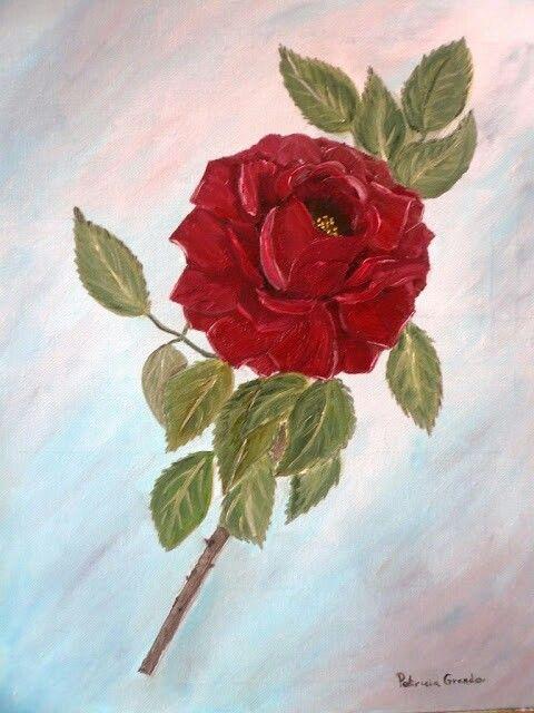Rosa roja. Óleo.