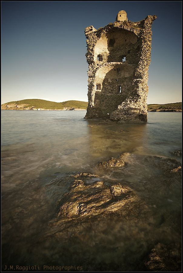 A Genoan tower in the northern coast of Corsica, France