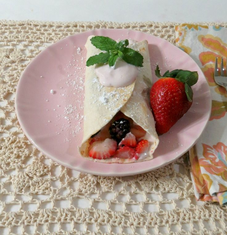 Berry Breakfast Tacos - A sweet, juicy healthy taco made with fresh berries and strawberry greek yogurt.