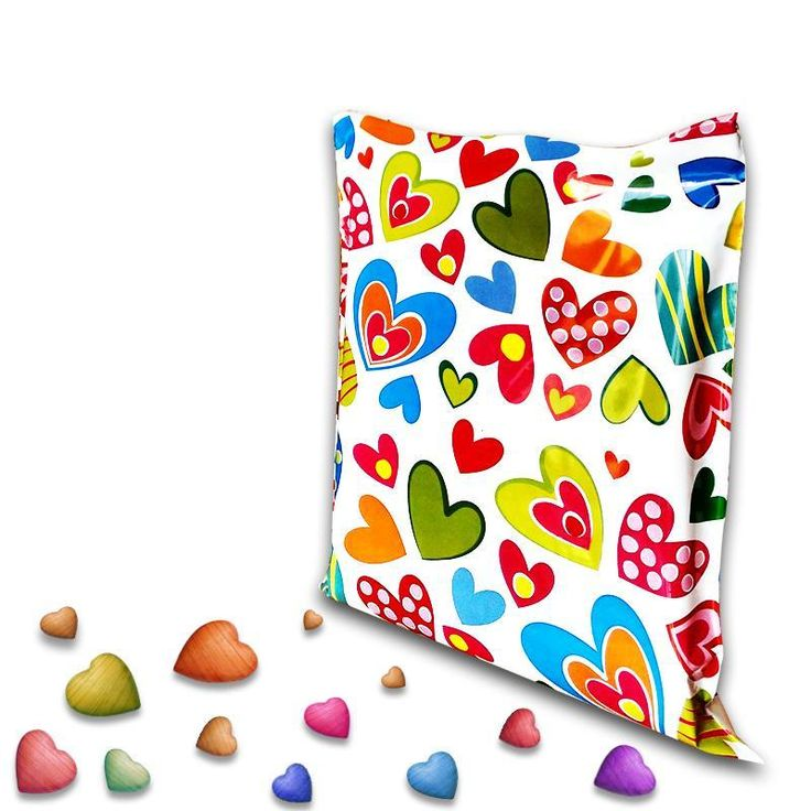 High Quality Premium Printed Plastic Courier Bags & Mailing Envelopes with Hearts. Lowest Price Guarantee!