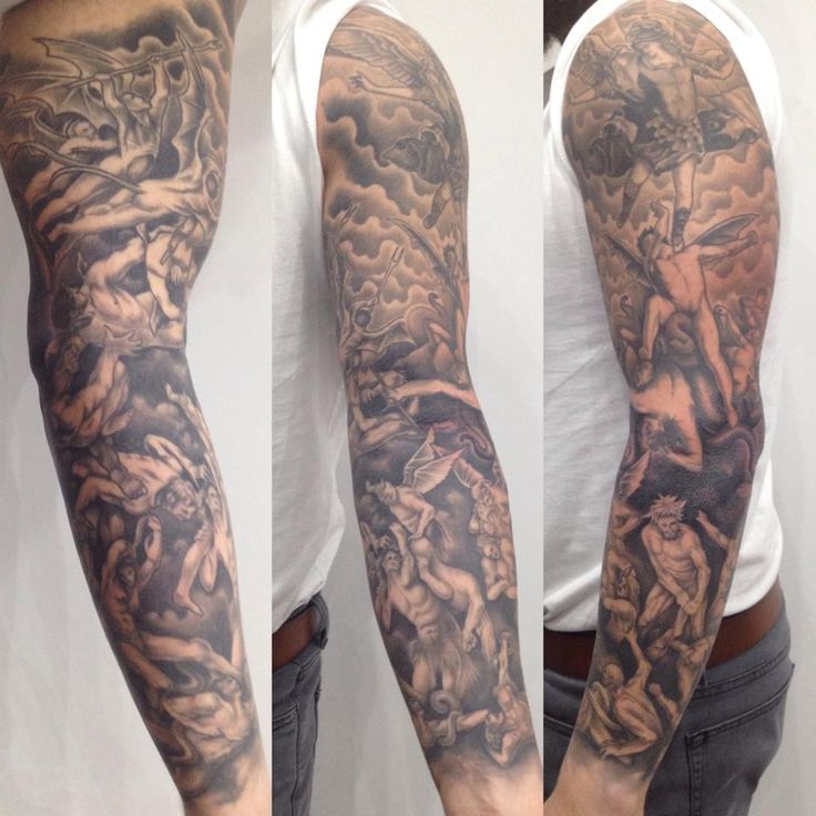 Religious Tattoo Sleeve Black and grey