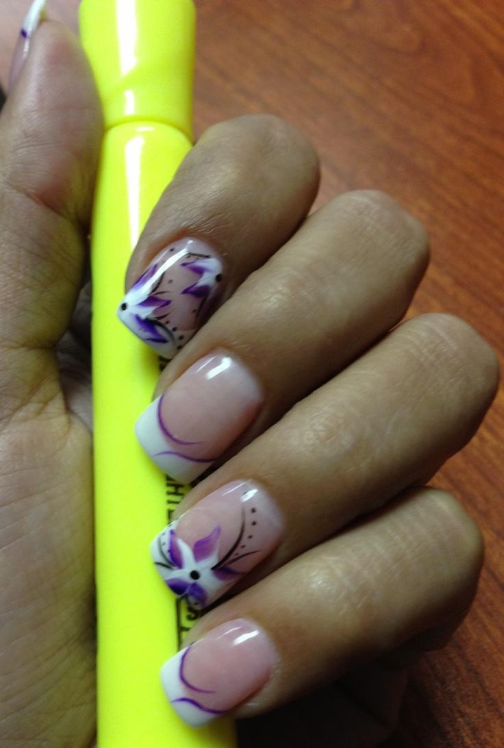 purple flower nail design