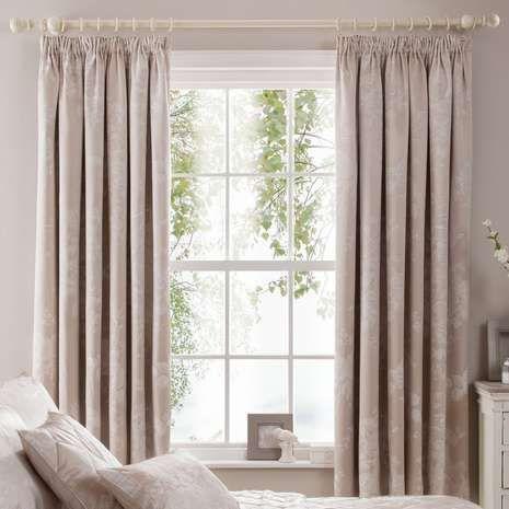 Natural Laura Jacquard Thermal Pencil Pleat Curtains