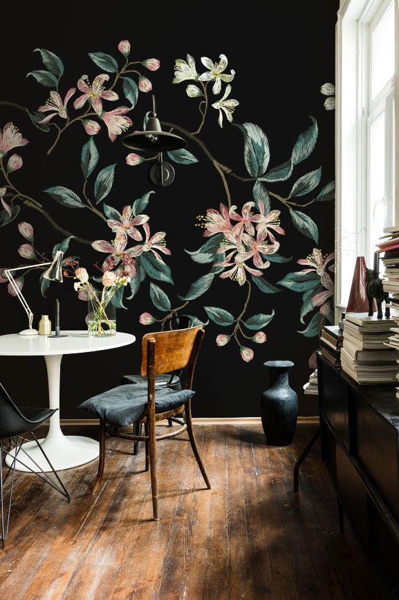 Embroidered Flowers Wall Mural #wallmural #wallpaper #floral #flower #interiordesign #romantic #vintage