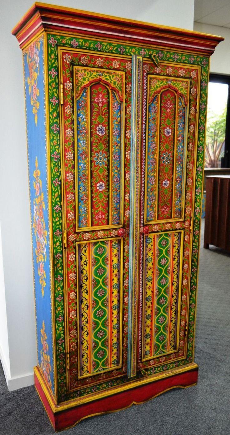hand painted wardrobe cupboard storage cabinet closet indian multi color boho ebay furniture. Black Bedroom Furniture Sets. Home Design Ideas
