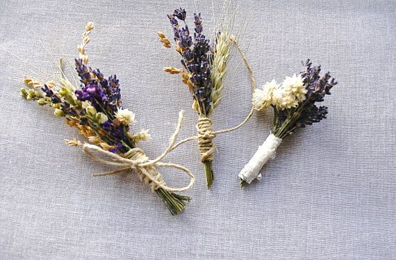 3 Coordinating Wildflower Wedding Lavender Boutonnieres or Corsages