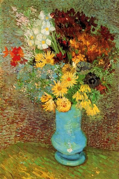 Vase with Daisies and Anemones, 1887 by Vincent van Gogh. Post-Impressionism. flower painting. Rijksmuseum Kröller-Müller, Otterlo, Netherlands