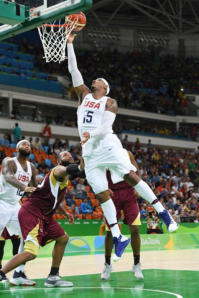 Carmelo Anthony of the USA Basketball Men's National Team shoots the ball against Venezuela on Day 3 of the Rio 2016 Olympic Games at…