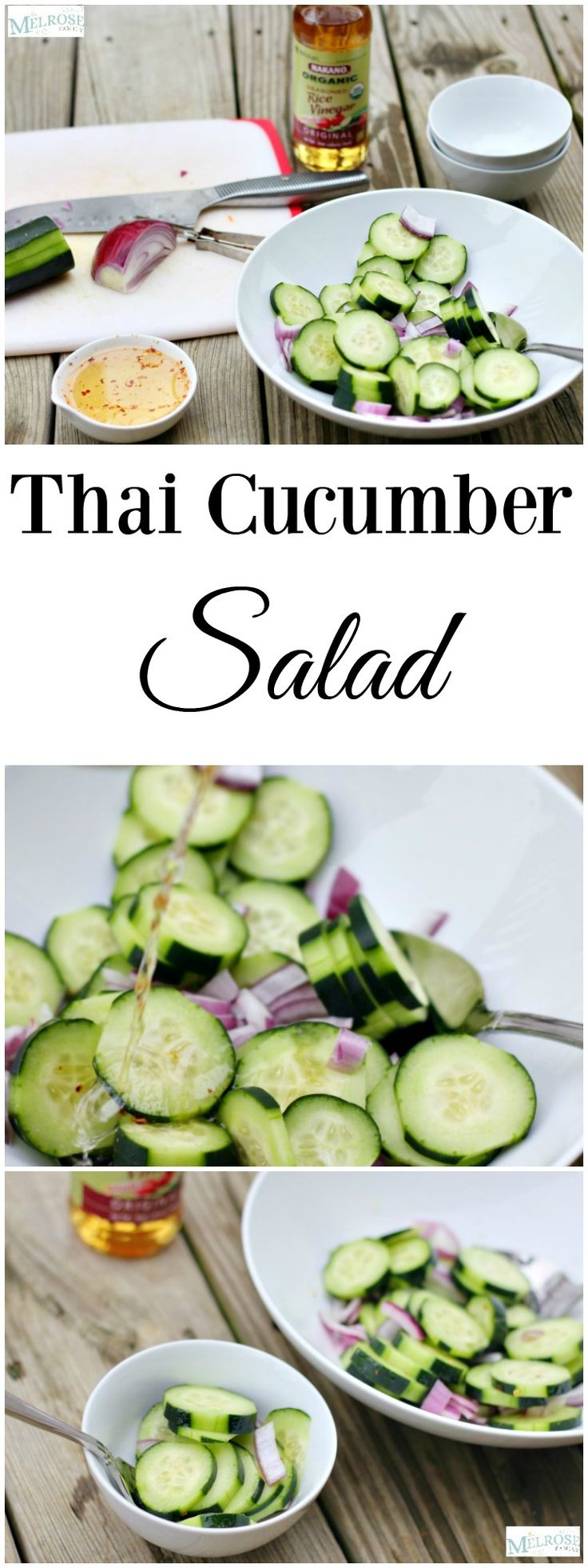 Looking for a healthier side dish or lunch idea? This Thai Cucumber Salad is the perfect lunch idea thanks to Nakano rice vinegars. #ad